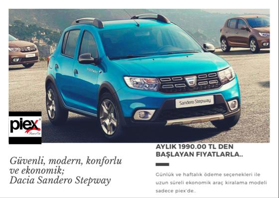 Dizel Dacia Sandero Stepway For April 1990.00 TL. + TAX %>